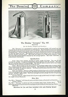 1918 Deming Pumps Catalog Page Ad Aerospra Sprayer Salem Ohio  Agriculture