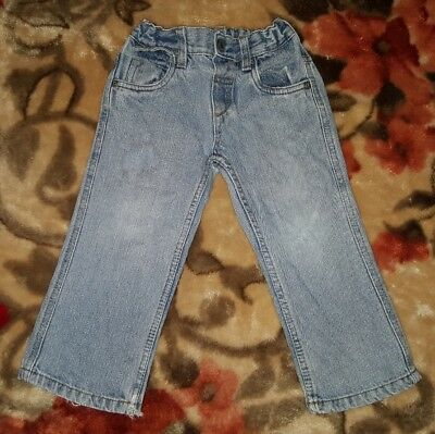 BOYS Sz 2 blue H+T denim jeans COMFY! ADJUSTABLE WAIST!