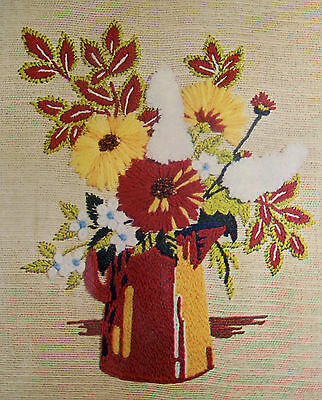 Crewel Creative Stitchery Autumn Bouquet Kit Vintage NEW Flowers Watering Can