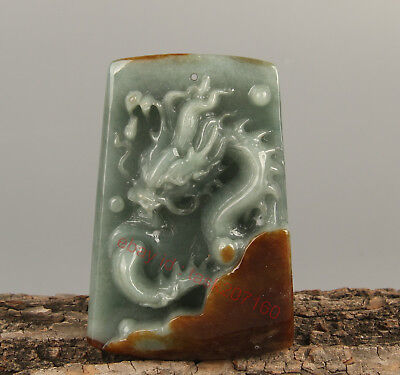 Chinese Exquisite Hand carved Dragon Carving jadeite jade Pendant