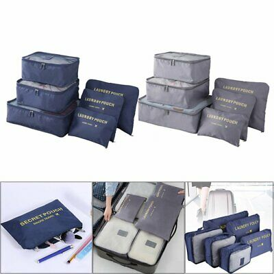 6Pcs Packing Travel Pouches Luggage Organiser Clothes Suitcase Storage Bag EA