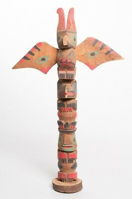Antique Native American Aleut Bay Alaska Carved & Painted Wood Totem Pole 12.75""