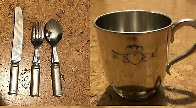Irish Claddagh Baby Christening Cup, Fork, Knife And Spoon Set Mullingar Pewter