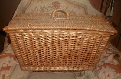 Antique 1920s Wicker Hamper Basket for Automobile, Picnic Large Very Good Clean