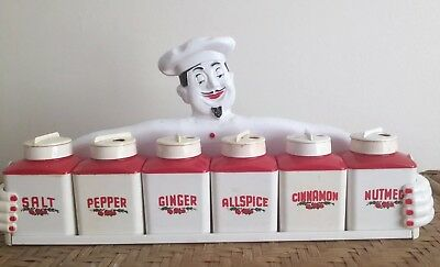Vintage Retro Fethalite  Gayware Happy Jolly Chef Spice Set Canisters Wall Rack