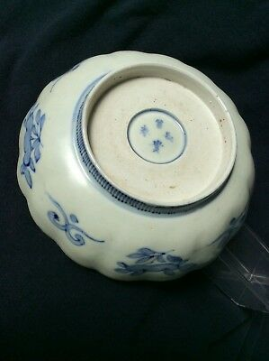 Antique Porcelain Bowl ~Character Marks ~Hand Painted Lobed Bowl ~Old Collection