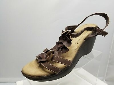 80b5b8af7f87 Comfort Plus by Predictions Brown Wedge T-Strap Sandals Women s Shoes Size  8.5