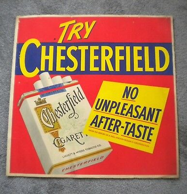 **** Large Original Vintage Chesterfield Cigarette Heavy Paper Advertising Sign