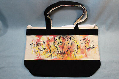 NEW OOAK Hand-painted Reusable Canvas Tote Bag - horse friends