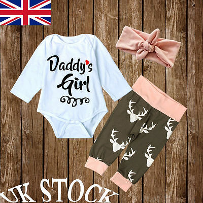 Daddy's Girl Newborn Baby Romper Tops Jumpsuit Pants Headband Outfit Clothes Set
