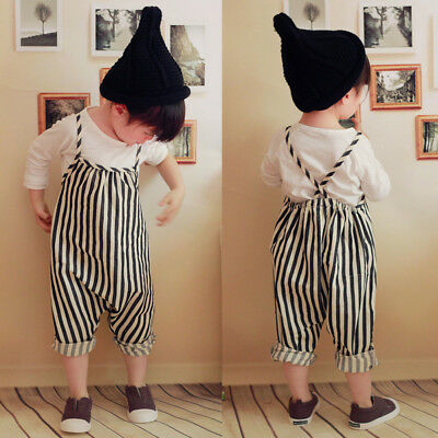 Fashion Infant Baby Girl Cotton Striped Romper Jumpsuit Overall Playsuit Trouser