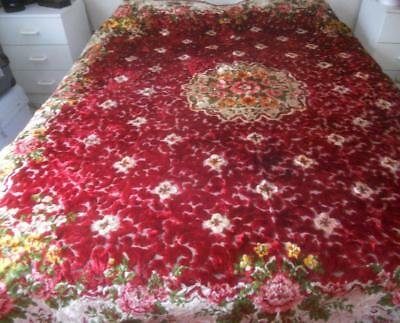 Fabulous Vintage Italian Cut Velvet Bedspread Table Cover Rich Red With Flowers