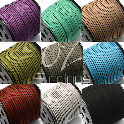 5m x 3mm FAUX SUEDE CORD BOTH SIDES THREAD JEWELLERY BRACELET NECKLACE DIY