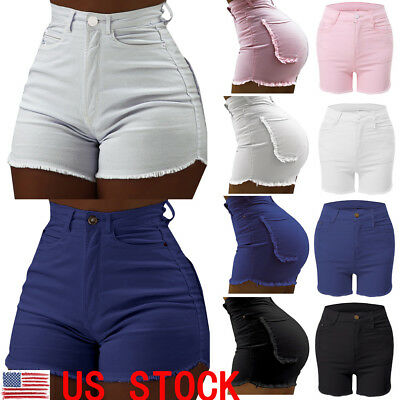 US Women Girl High Waist Denim Short Jeans Lady Fashion Casual Hot Pants Trouser