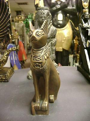 Vintage  Egyptian Cat Goddess Bast Statue Hand Carved 1983 Made in Egypt
