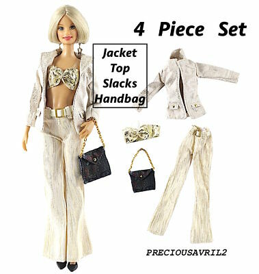 New Barbie doll clothes outfit 4 piece set skirt jacket top handbag clothing