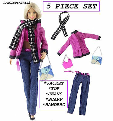 New Barbie doll clothes outfit 5 piece set skirt jacket top handbag scarf