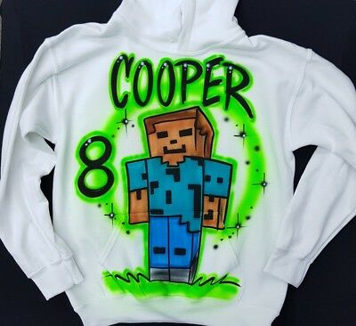 Airbrushed Minecraft Steve Inspired Hoody