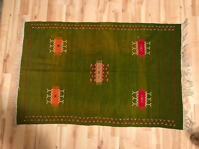 TD121 VTG Native American Indian Southwest Western Wool Woven Rug Green 61 X 40