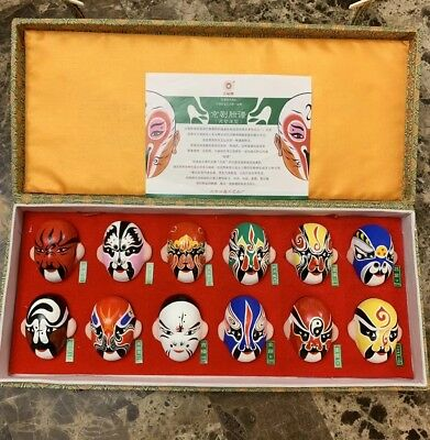 Chinese Beijing 12 Types Of Opera Facial Make Up Masks Covered Case