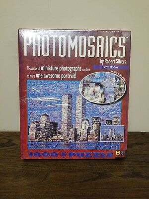 Photomosaic New York City skyline by Robert Silvers Twin Towers Puzzle New
