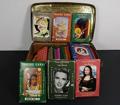 1930 - 1950s  TRADING / SWAP CARDS  Different Various Themes + vintage Candy tin