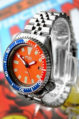 Vintage Seiko Divers 7002 Automatic Men's Watch Orange Dial Pepsi Bezel Modded