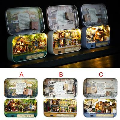 DIY Handcraft Miniature Project Wooden Doll House Kit Box Theatre LED Light Gift
