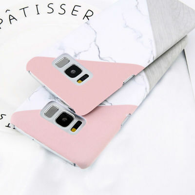 For Samsung Galaxy S8 S9 S7 Granite Marble Contrast Color Hard Phone Cover Case