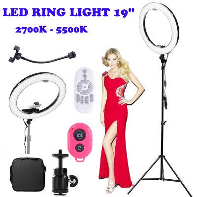 "19"" 2700 - 5500K Dimmable LED Ring Light Kit w/ Stand Photo Video Studio Makeup"
