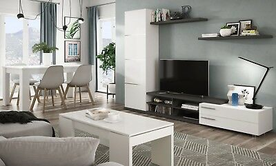 PACK MUEBLES SALON comedor Zadra moderno blanco brillo con 4 sillas ...