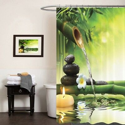 Shower Curtain 3D Bamboo/Phalaenopsis Printed Curtain Waterproof Moisture Proof