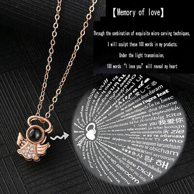 I LOVE YOU in 100 languages 925 Silver Gold Pendant Necklace Memory of LOVE UK