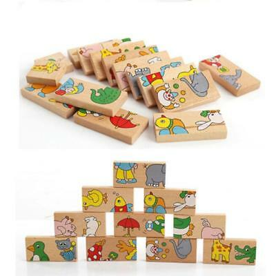 Baby Child Cartoon Domino Building Wooden Blocks Educational Kids Toys FI
