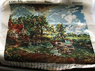 """Completed Unframed Wool Tapestry - The Haywain - 21""""x17"""" - Unused Excellent cond"""