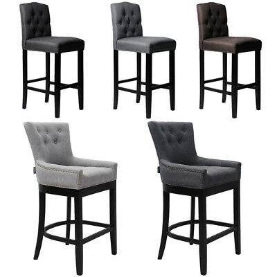 Surprising 1 2 Linen Fabric Breakfast Bar Stools Padded Seat With Back Machost Co Dining Chair Design Ideas Machostcouk