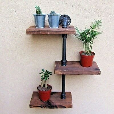 Rustic Wooden Industrial Pipe Wall Shelves Storage Shelving Unit Bathroom Shelf