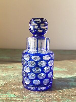 Antique Cobalt Blue Overlay Cut to Clear Scent Bottle, a.f