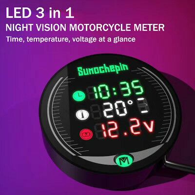 12V-19V 3 IN 1 Car/Motorcycle LED Voltage Meter Display Temperature Time Table