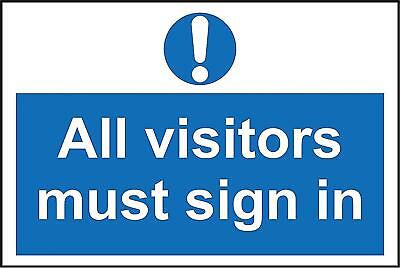All visitors must sign in safety sign