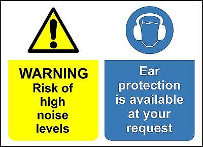 Warning risk of high noise levels ear protection must be worn safety sign