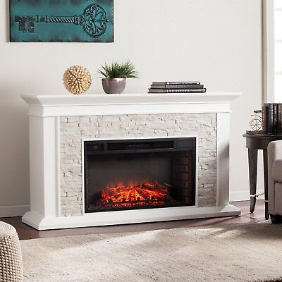 Cfp12909 White Fauxed Stack Stone T.v Console / Electric Fireplace With Remote