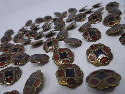 Vintage 8-Sided Black Gold Red Ornate Metal Shank Buttons 20mm Lot of 3 A408
