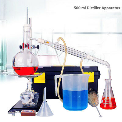 500ml Lab Distillation Apparatus Essential Oil Pure Water Glassware Kits