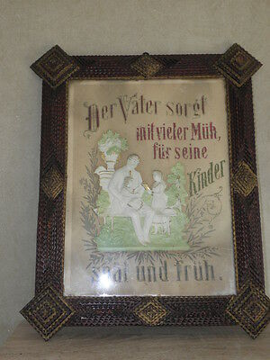 Antique TRAMP Arts & Crafts Wood Painting Frame Black Forest Germany old picture