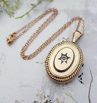 Antique Victorian Gold Pinchbeck Large Oval Star Old Cut Paste Locket Necklace