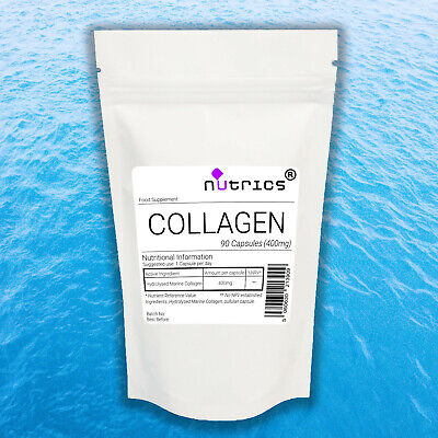Nutrics® 100% PURE MARINE COLLAGEN 400mg x 60 Capsules Anti Wrinkle Supplement