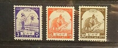 Burma. Three stamps from the Japanese occupation