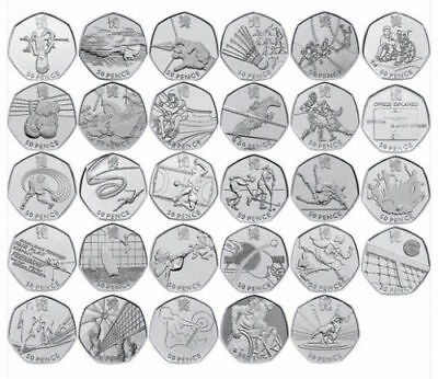London 2012 All Olympic 50p Coins inc Football Triathlon Judo Wrestling FREEPOST