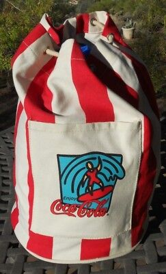 REDUCED!  Vintage? Red White  Canvas Coca-Cola Coke Round Beach Tote Bag